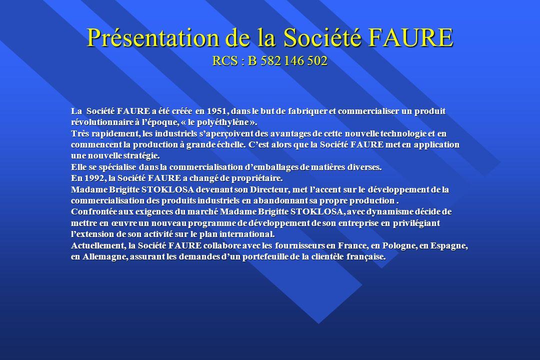 Présentation de la Société FAURE RCS : B 582 146 502 La Société FAURE a été créée en 1951, dans le but de fabriquer et commercialiser un produit révolutionnaire à lépoque, « le polyéthylène ».
