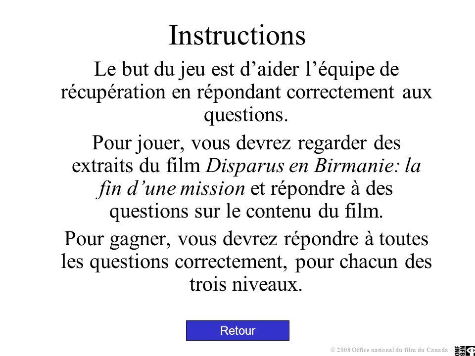 Instructions Le but du jeu est daider léquipe de récupération en répondant correctement aux questions.