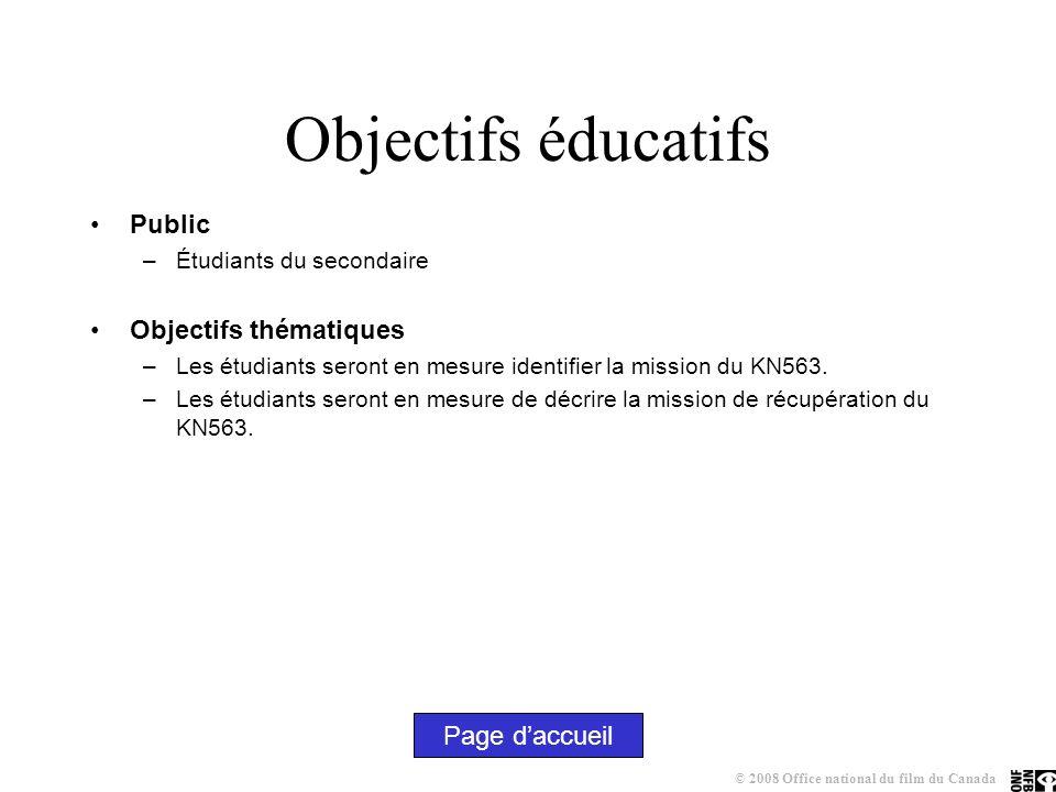 Objectifs éducatifs Public –Étudiants du secondaire Objectifs thématiques –Les étudiants seront en mesure identifier la mission du KN563.