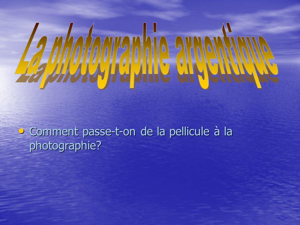 La photographie argentique est une technique faisant appel à de nombreux processus chimiques et repose notamment sur la sensibilité aux radiations lumineuses des cristaux d halogénures dargent.l obtention dune photo se déroule en nombreuses étapes, en commençant par la prise photo jusquau développement.