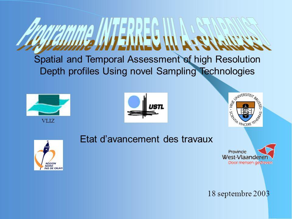 Etat davancement des travaux Spatial and Temporal Assessment of high Resolution Depth profiles Using novel Sampling Technologies 18 septembre 2003 VLIZ