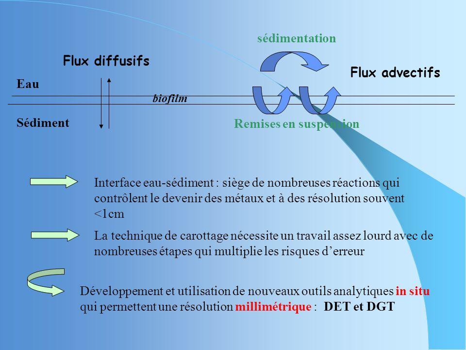 Traitement des échantillons Etude de la phase solide : congélation sous azote Métaux : acidification par HNO 3 Sulfures et carbonates : aucun traiteme