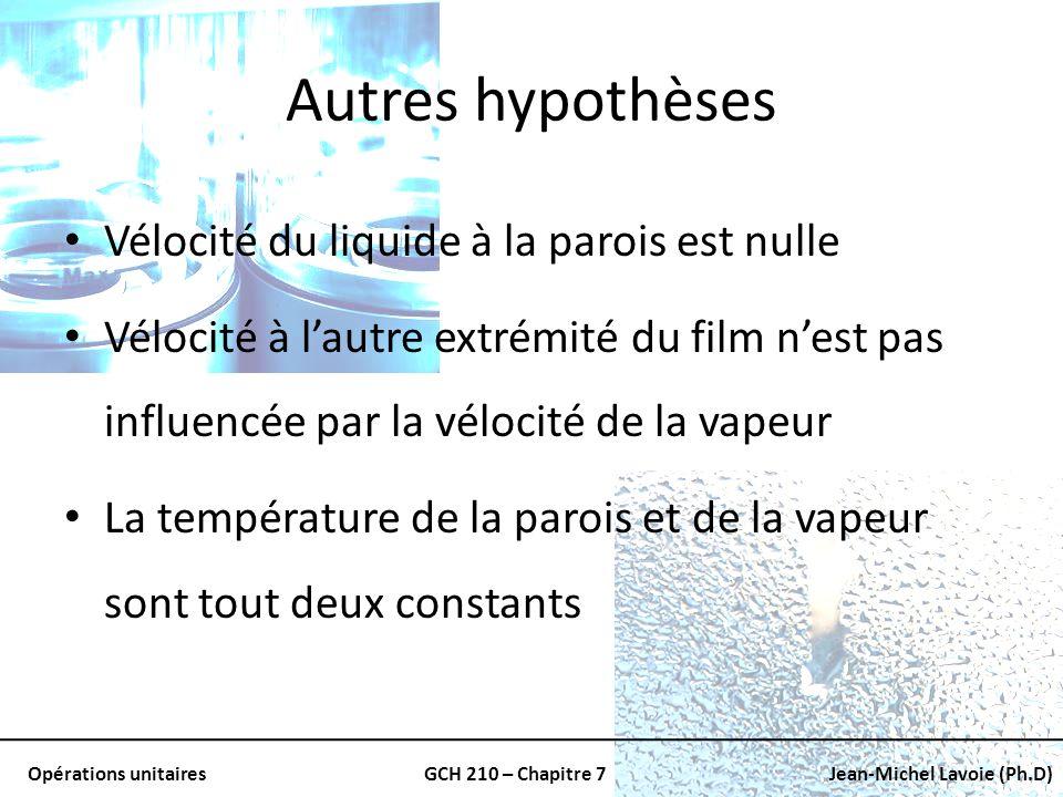 Opérations unitairesGCH 210 – Chapitre 7Jean-Michel Lavoie (Ph.D) Autres hypothèses Vélocité du liquide à la parois est nulle Vélocité à lautre extrém