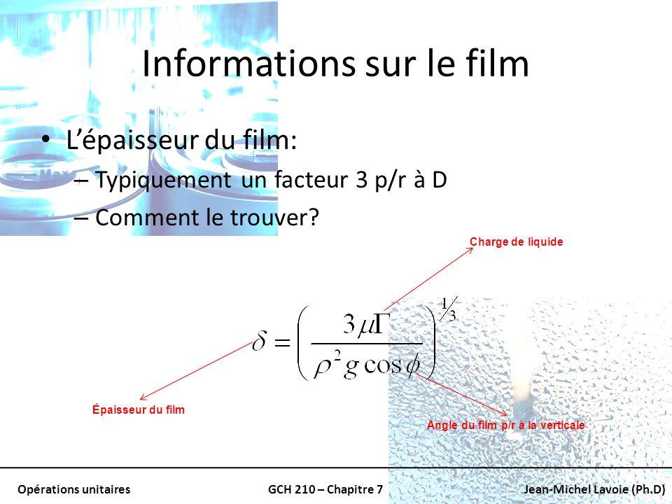 Opérations unitairesGCH 210 – Chapitre 7Jean-Michel Lavoie (Ph.D) Informations sur le film Lépaisseur du film: – Typiquement un facteur 3 p/r à D – Co