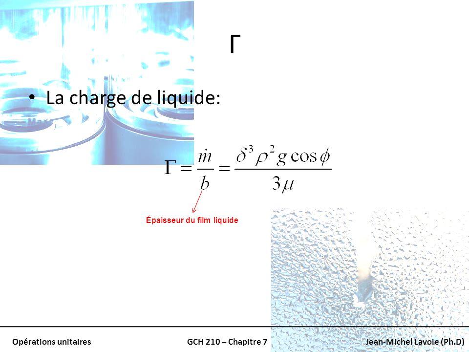 Opérations unitairesGCH 210 – Chapitre 7Jean-Michel Lavoie (Ph.D) Γ La charge de liquide: Épaisseur du film liquide