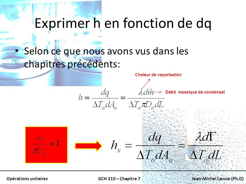 Opérations unitairesGCH 210 – Chapitre 7Jean-Michel Lavoie (Ph.D) Exprimer h en fonction de dq Selon ce que nous avons vus dans les chapitres précéden