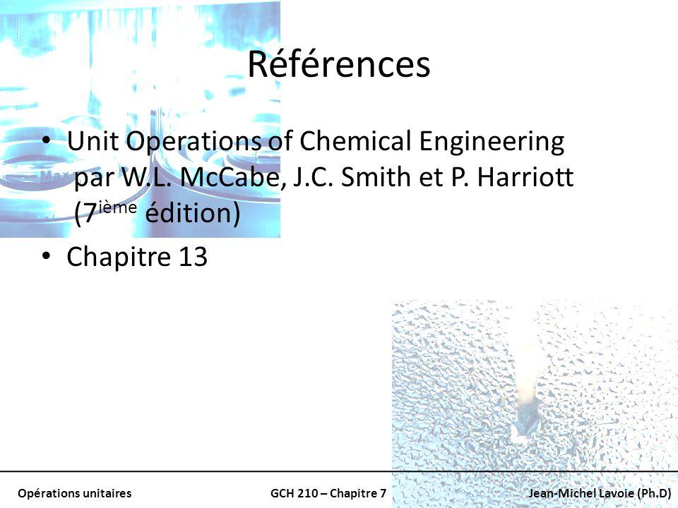 Opérations unitairesGCH 210 – Chapitre 7Jean-Michel Lavoie (Ph.D) Comparaison Le coefficient de transfert de chaleur moyen est 4/3 celui du coefficient à la base du tube