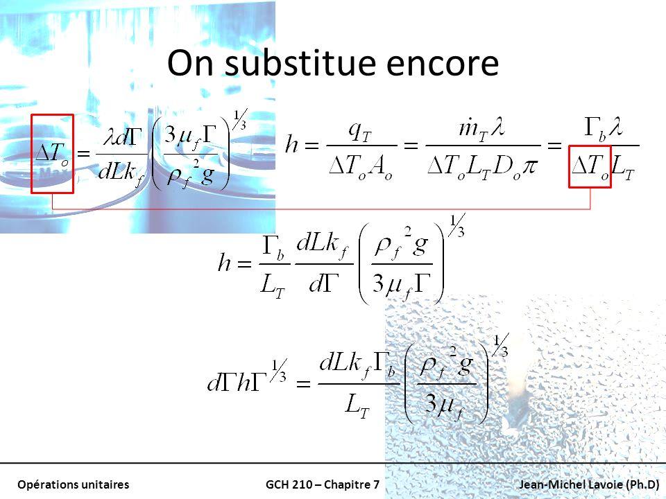 Opérations unitairesGCH 210 – Chapitre 7Jean-Michel Lavoie (Ph.D) On substitue encore