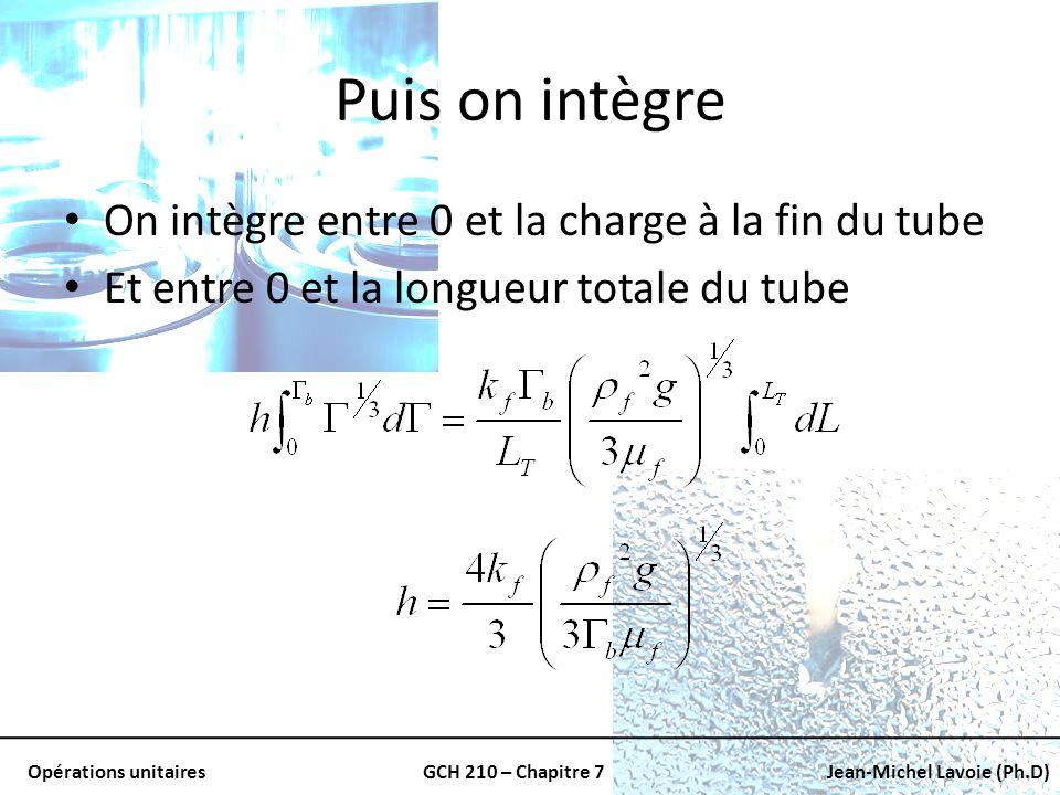 Opérations unitairesGCH 210 – Chapitre 7Jean-Michel Lavoie (Ph.D) Puis on intègre On intègre entre 0 et la charge à la fin du tube Et entre 0 et la lo