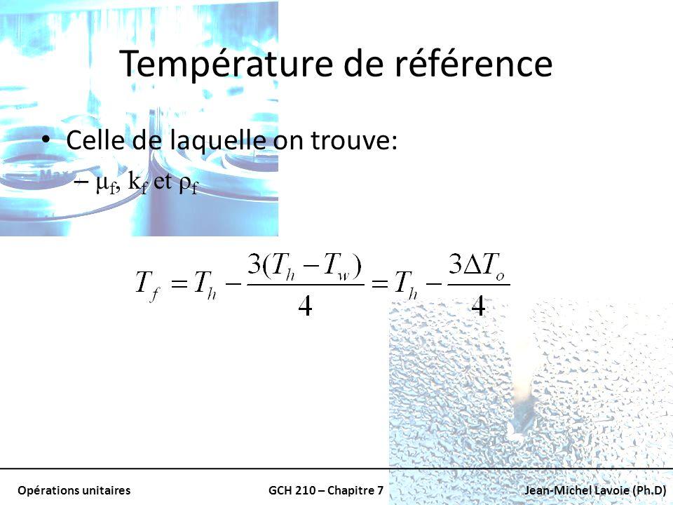 Opérations unitairesGCH 210 – Chapitre 7Jean-Michel Lavoie (Ph.D) Température de référence Celle de laquelle on trouve: – μ f, k f et ρ f