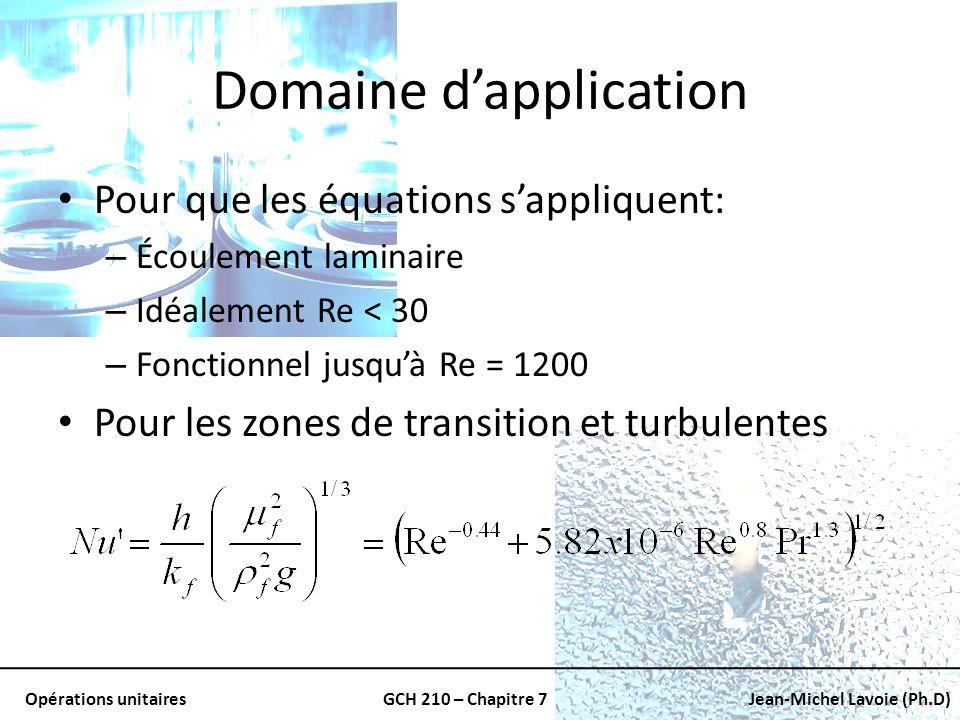 Opérations unitairesGCH 210 – Chapitre 7Jean-Michel Lavoie (Ph.D) Domaine dapplication Pour que les équations sappliquent: – Écoulement laminaire – Id