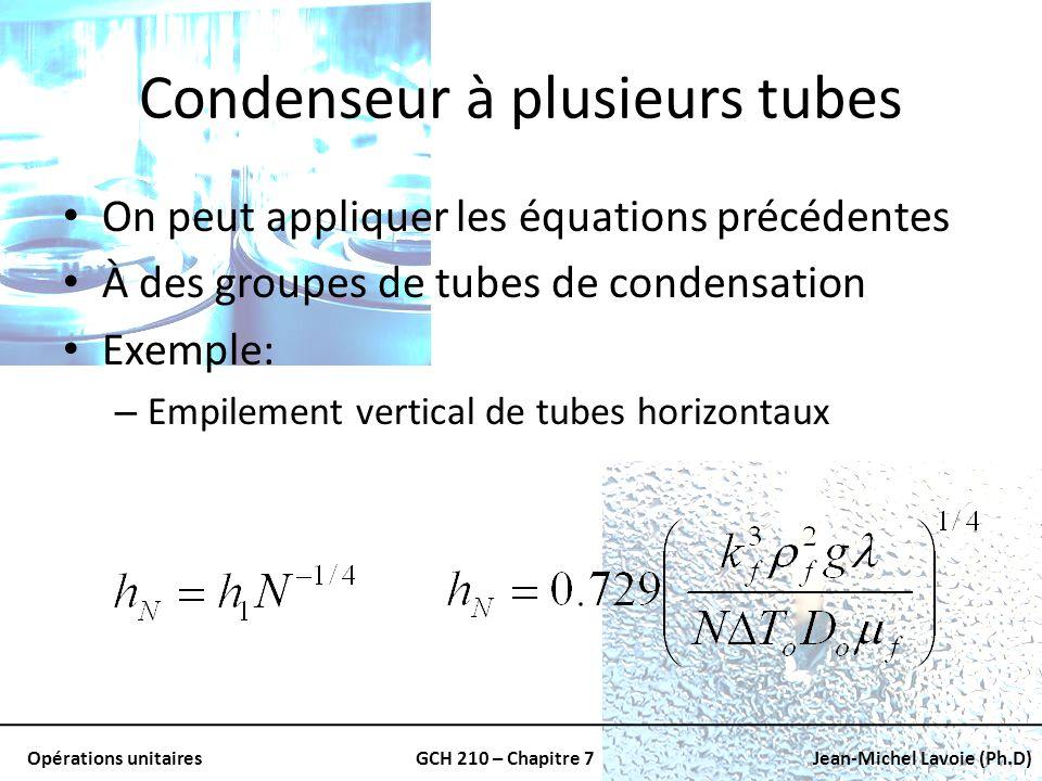 Opérations unitairesGCH 210 – Chapitre 7Jean-Michel Lavoie (Ph.D) Condenseur à plusieurs tubes On peut appliquer les équations précédentes À des group