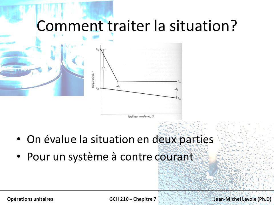 Opérations unitairesGCH 210 – Chapitre 7Jean-Michel Lavoie (Ph.D) Comment traiter la situation? On évalue la situation en deux parties Pour un système