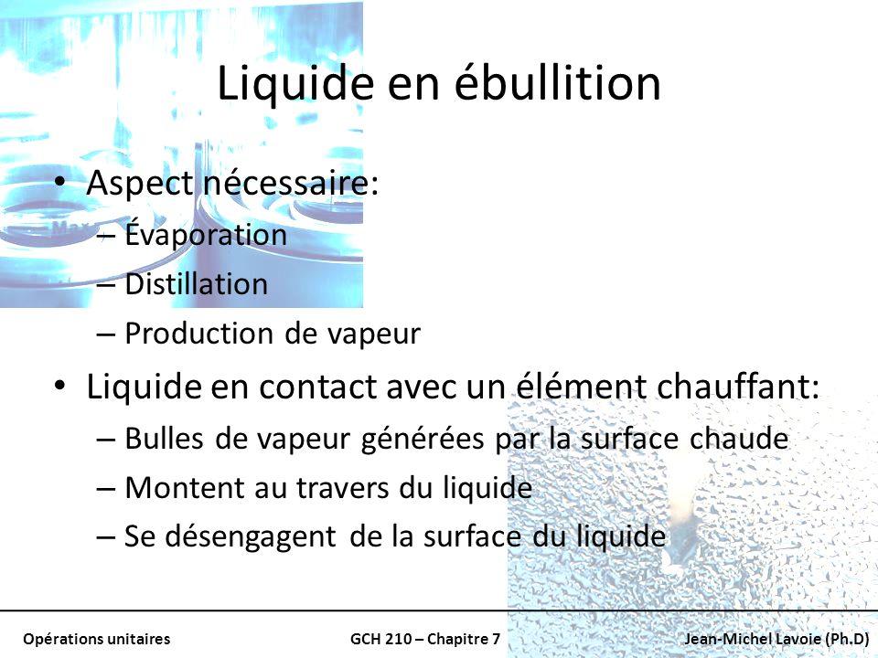 Opérations unitairesGCH 210 – Chapitre 7Jean-Michel Lavoie (Ph.D) Liquide en ébullition Aspect nécessaire: – Évaporation – Distillation – Production d