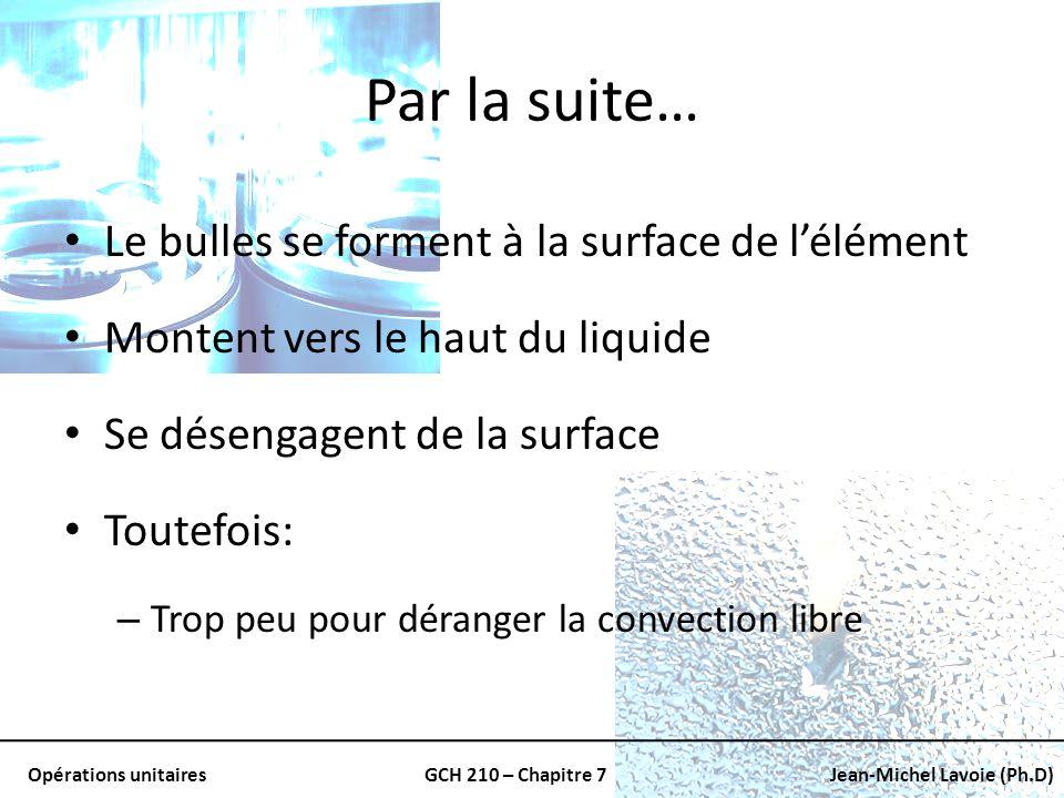 Opérations unitairesGCH 210 – Chapitre 7Jean-Michel Lavoie (Ph.D) Par la suite… Le bulles se forment à la surface de lélément Montent vers le haut du