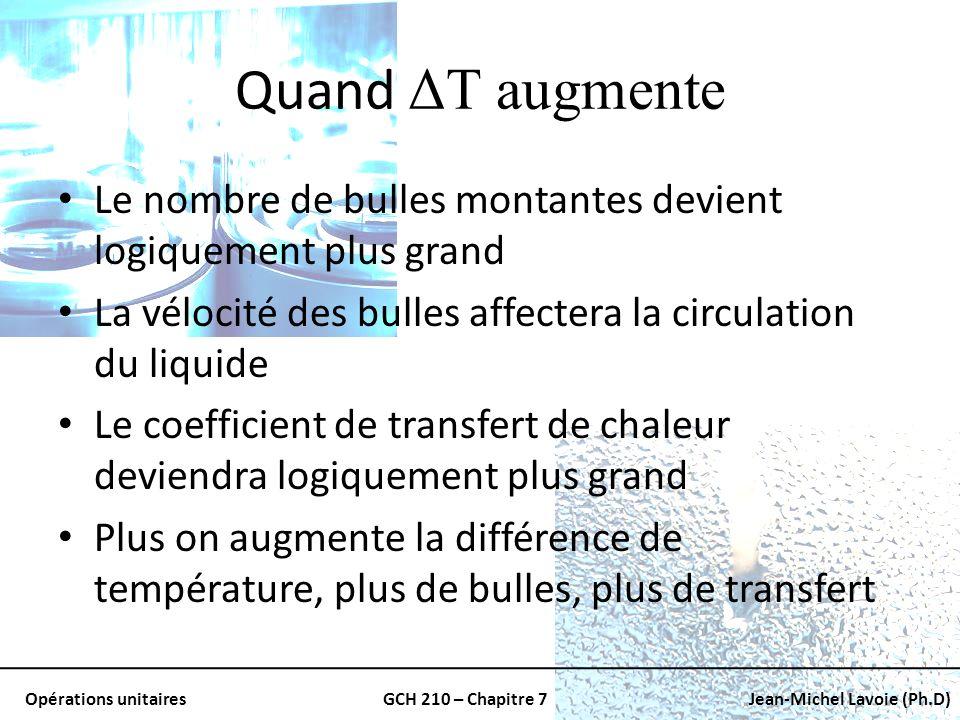 Opérations unitairesGCH 210 – Chapitre 7Jean-Michel Lavoie (Ph.D) Quand ΔT augmente Le nombre de bulles montantes devient logiquement plus grand La vé