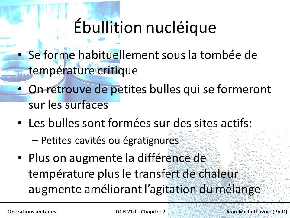 Opérations unitairesGCH 210 – Chapitre 7Jean-Michel Lavoie (Ph.D) Ébullition nucléique Se forme habituellement sous la tombée de température critique