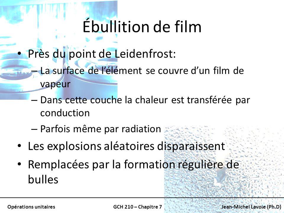Opérations unitairesGCH 210 – Chapitre 7Jean-Michel Lavoie (Ph.D) Ébullition de film Près du point de Leidenfrost: – La surface de lélément se couvre