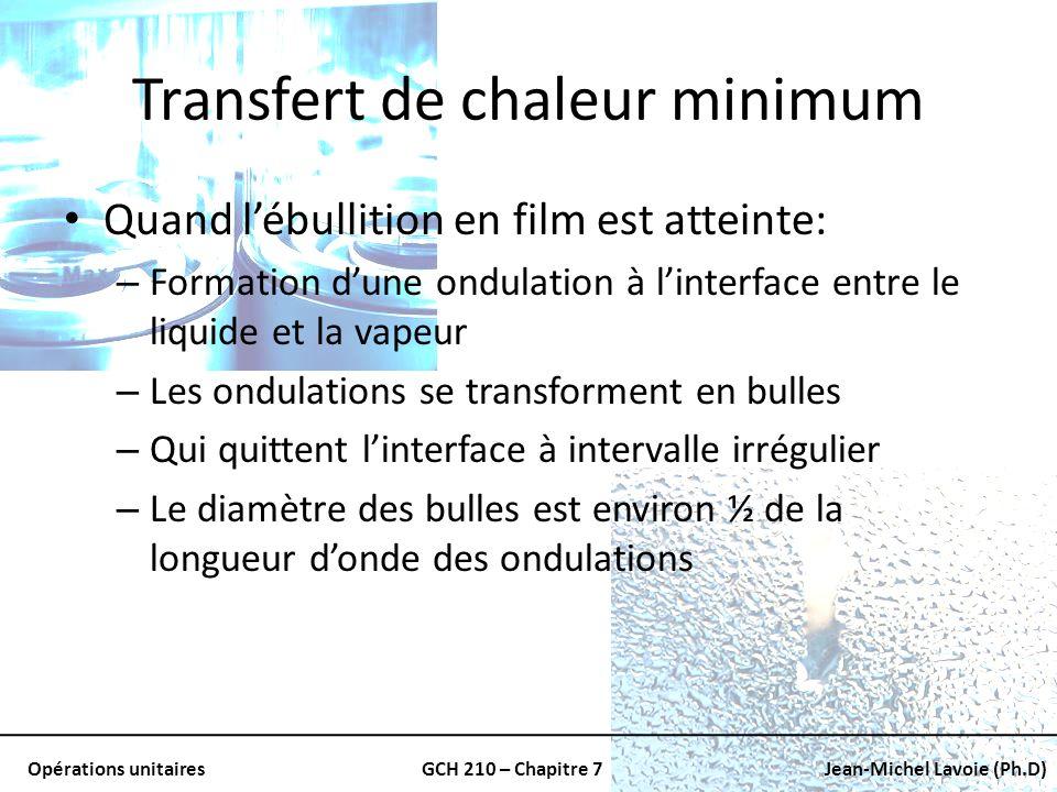 Opérations unitairesGCH 210 – Chapitre 7Jean-Michel Lavoie (Ph.D) Transfert de chaleur minimum Quand lébullition en film est atteinte: – Formation dun