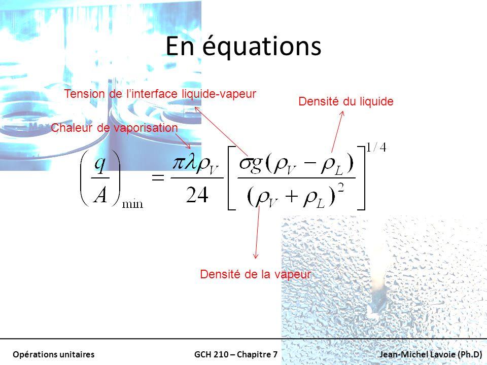 Opérations unitairesGCH 210 – Chapitre 7Jean-Michel Lavoie (Ph.D) En équations Densité de la vapeur Densité du liquide Tension de linterface liquide-v
