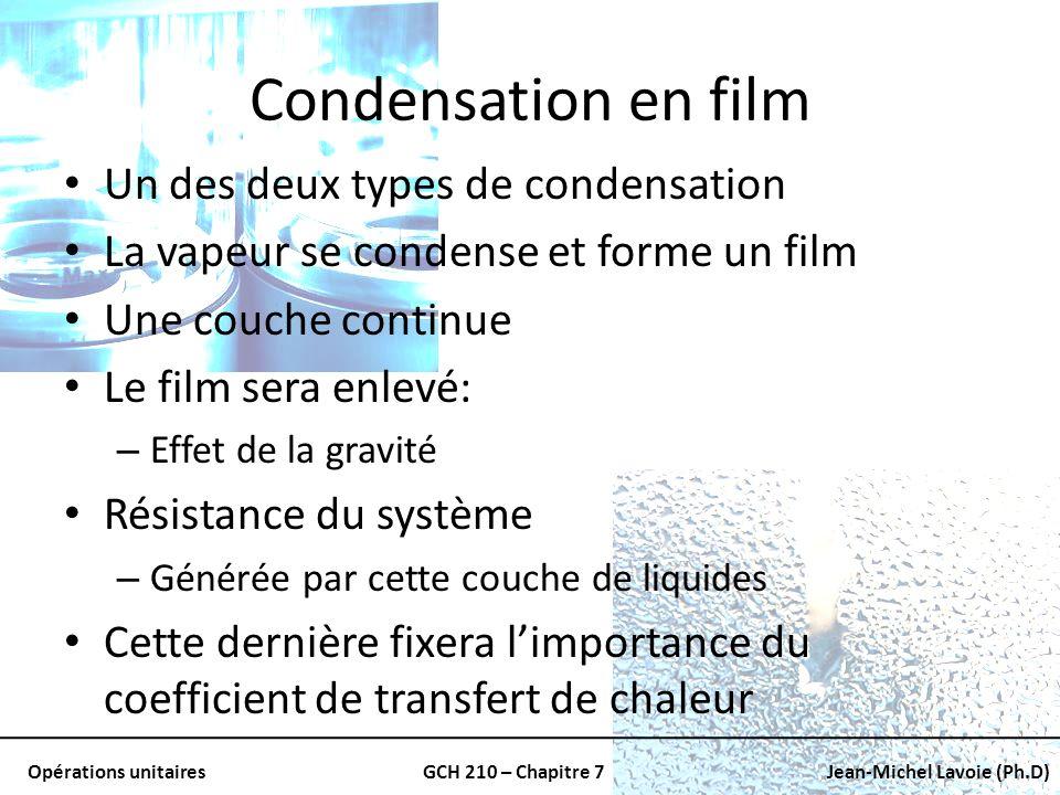 Opérations unitairesGCH 210 – Chapitre 7Jean-Michel Lavoie (Ph.D) Condensation en film Un des deux types de condensation La vapeur se condense et form