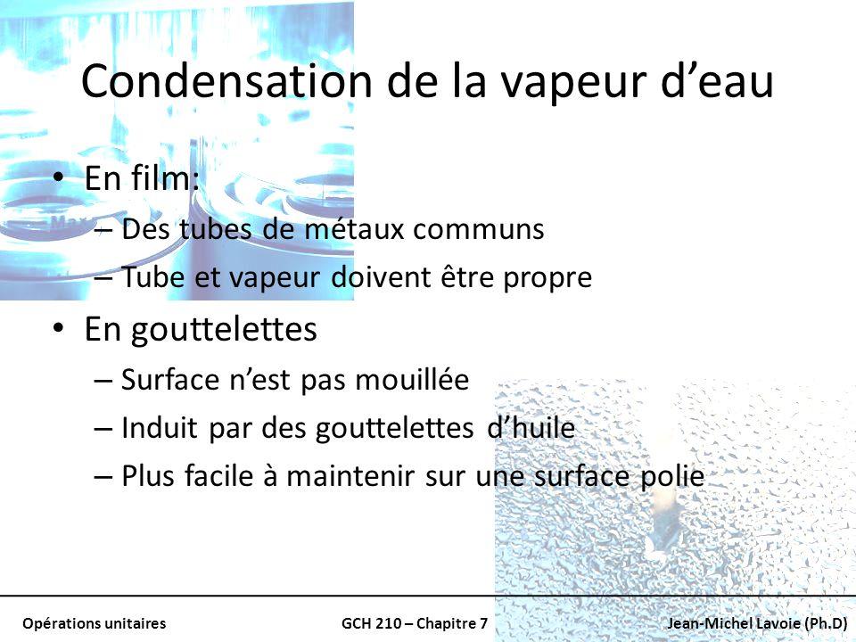 Opérations unitairesGCH 210 – Chapitre 7Jean-Michel Lavoie (Ph.D) Condensation de la vapeur deau En film: – Des tubes de métaux communs – Tube et vape