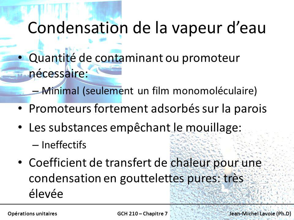 Opérations unitairesGCH 210 – Chapitre 7Jean-Michel Lavoie (Ph.D) Condensation de la vapeur deau Quantité de contaminant ou promoteur nécessaire: – Mi