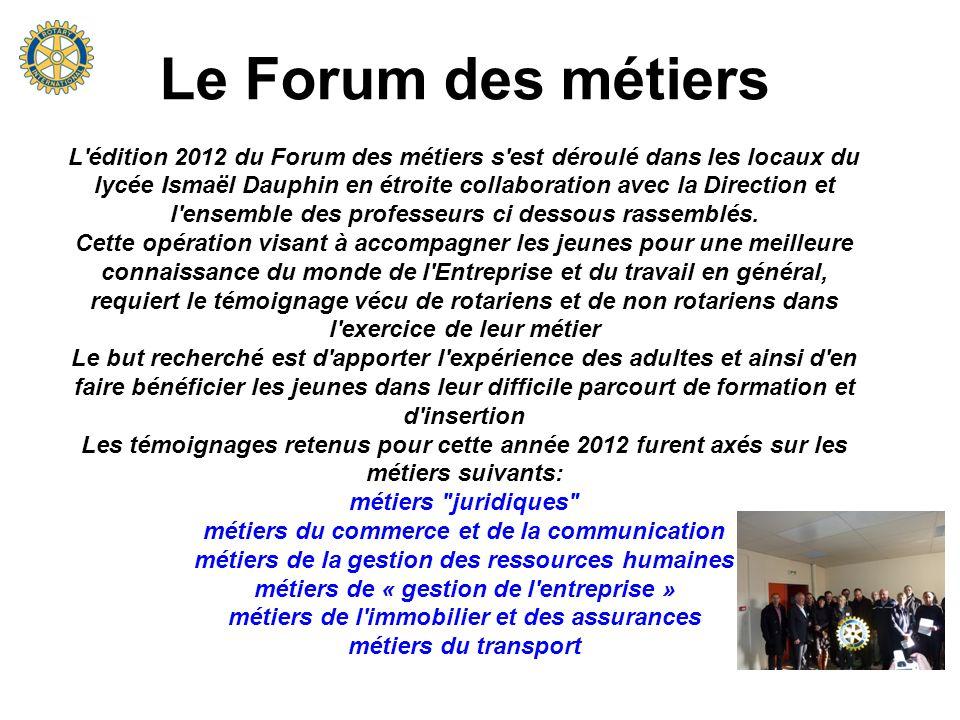 Le Forum des métiers L'édition 2012 du Forum des métiers s'est déroulé dans les locaux du lycée Ismaël Dauphin en étroite collaboration avec la Direct