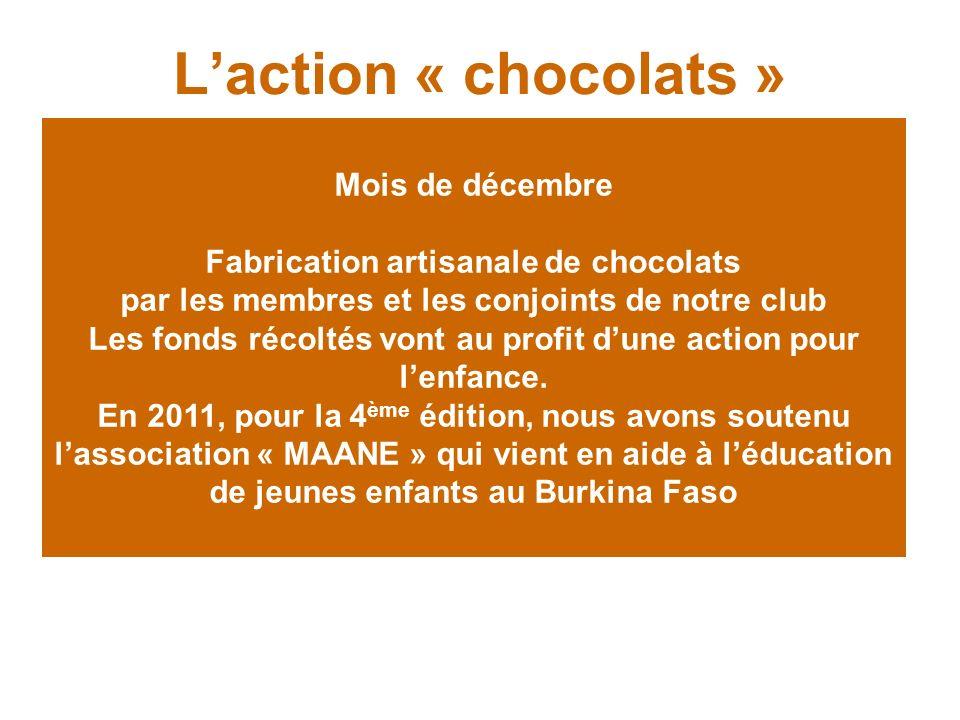 Laction « chocolats » Mois de décembre Fabrication artisanale de chocolats par les membres et les conjoints de notre club Les fonds récoltés vont au profit dune action pour lenfance.