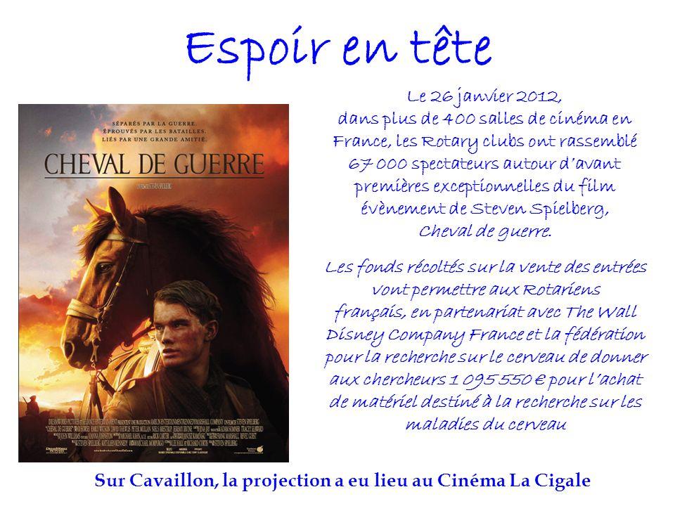 Espoir en tête Le 26 janvier 2012, dans plus de 400 salles de cinéma en France, les Rotary clubs ont rassemblé 67 000 spectateurs autour davant premières exceptionnelles du film évènement de Steven Spielberg, Cheval de guerre.