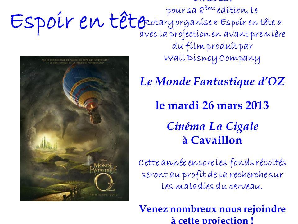 Espoir en tête En 2013, pour sa 8 ème édition, le Rotary organise « Espoir en tête » avec la projection en avant première du film produit par Wall Dis