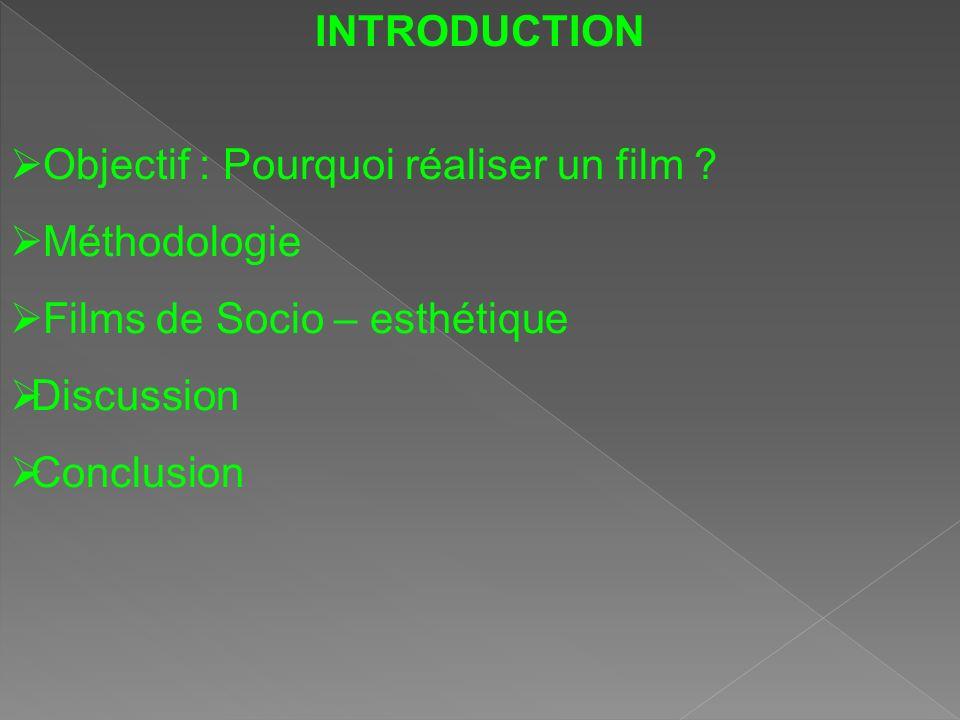 INTRODUCTION Objectif : Pourquoi réaliser un film ? Méthodologie Films de Socio – esthétique Discussion Conclusion