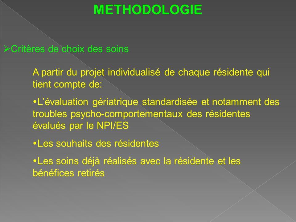 METHODOLOGIE Critères de choix des soins A partir du projet individualisé de chaque résidente qui tient compte de: Lévaluation gériatrique standardisé