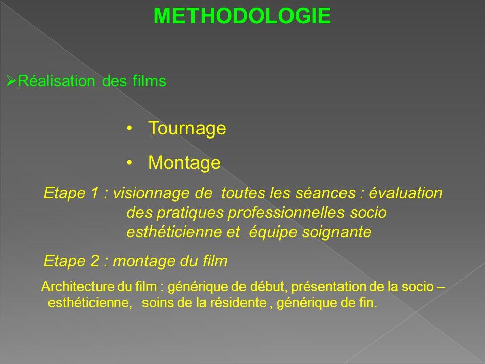 METHODOLOGIE Réalisation des films Tournage Montage Etape 1 : visionnage de toutes les séances : évaluation des pratiques professionnelles socio esthé