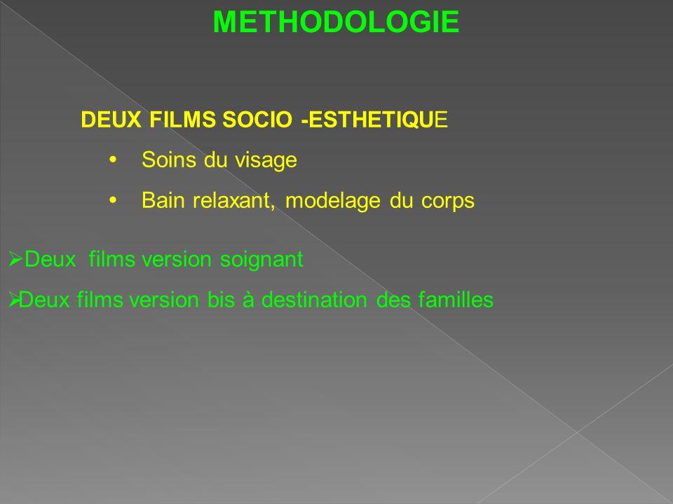 METHODOLOGIE Deux films version soignant Deux films version bis à destination des familles DEUX FILMS SOCIO -ESTHETIQUE Soins du visage Bain relaxant,