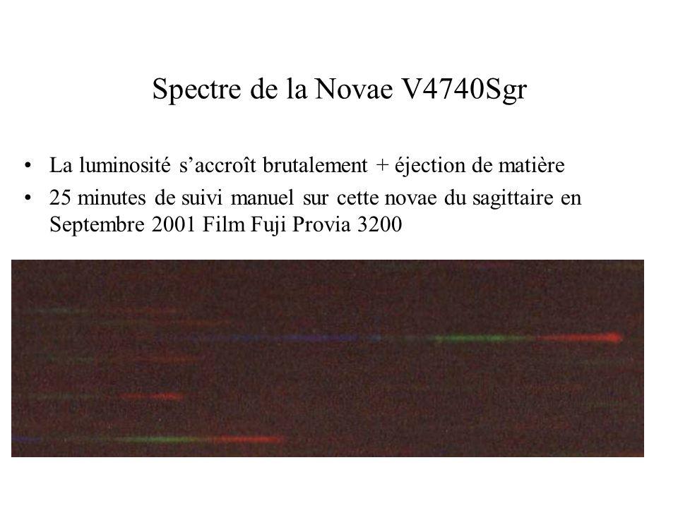 Spectre de la Novae V4740Sgr La luminosité saccroît brutalement + éjection de matière 25 minutes de suivi manuel sur cette novae du sagittaire en Sept