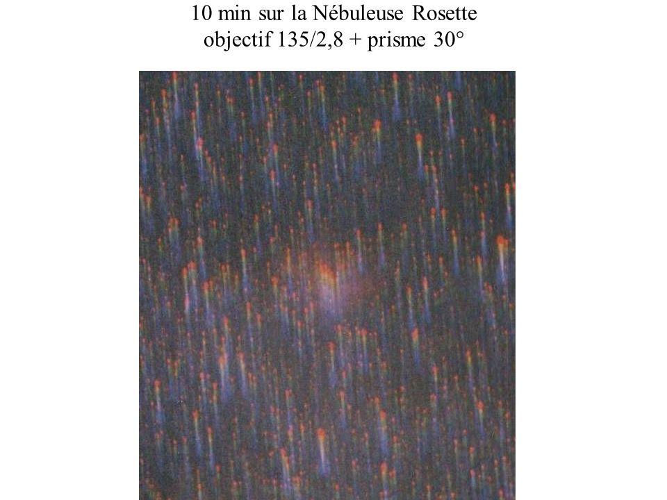 10 min sur la Nébuleuse Rosette objectif 135/2,8 + prisme 30°