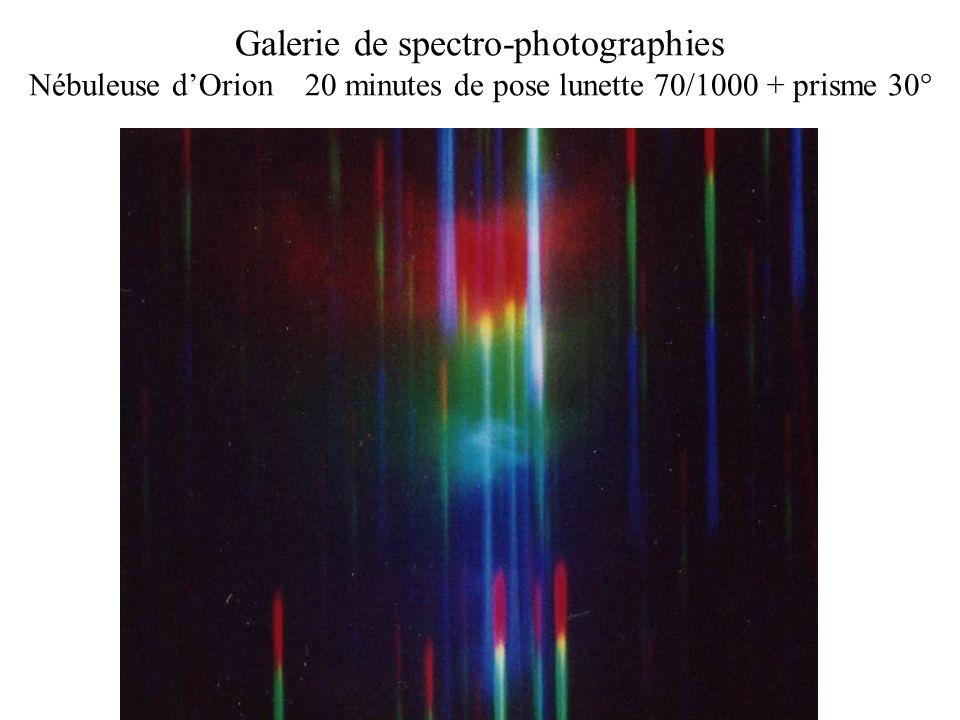 Galerie de spectro-photographies Nébuleuse dOrion 20 minutes de pose lunette 70/1000 + prisme 30°