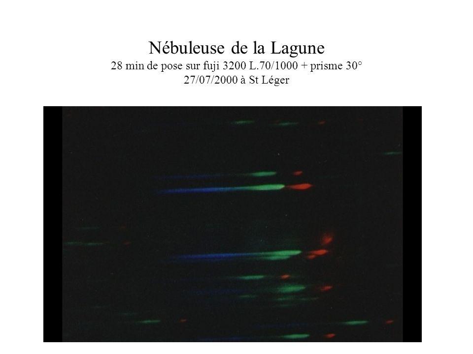 Nébuleuse de la Lagune 28 min de pose sur fuji 3200 L.70/1000 + prisme 30° 27/07/2000 à St Léger