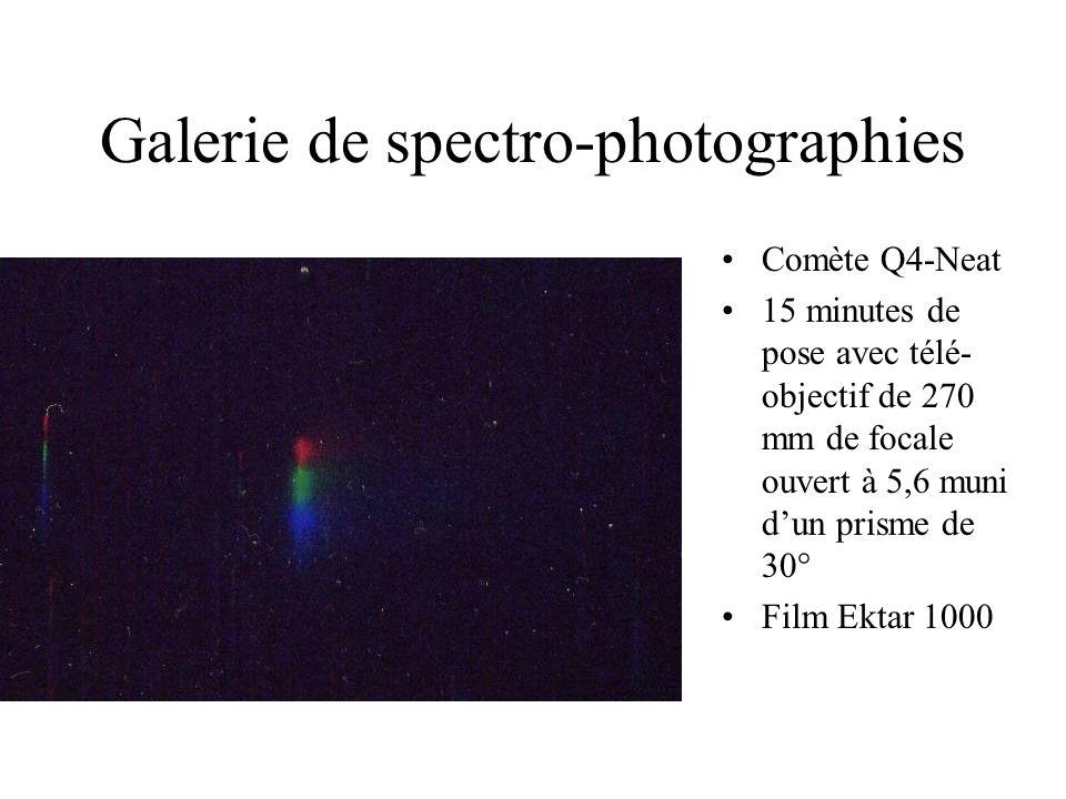 Galerie de spectro-photographies Comète Q4-Neat 15 minutes de pose avec télé- objectif de 270 mm de focale ouvert à 5,6 muni dun prisme de 30° Film Ek