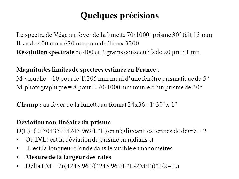 Quelques précisions Le spectre de Véga au foyer de la lunette 70/1000+prisme 30° fait 13 mm Il va de 400 nm à 630 nm pour du Tmax 3200 Résolution spec