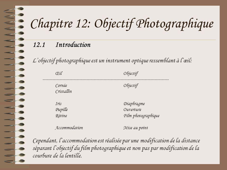 12.1Introduction Lobjectif photographique est un instrument optique ressemblant à lœil: ŒilObjectif --------------------------------------------------
