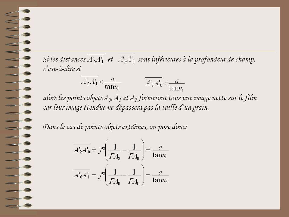 Si les distances et sont inférieures à la profondeur de champ, cest-à-dire si alors les points objets A 0, A 1 et A 2 formeront tous une image nette s