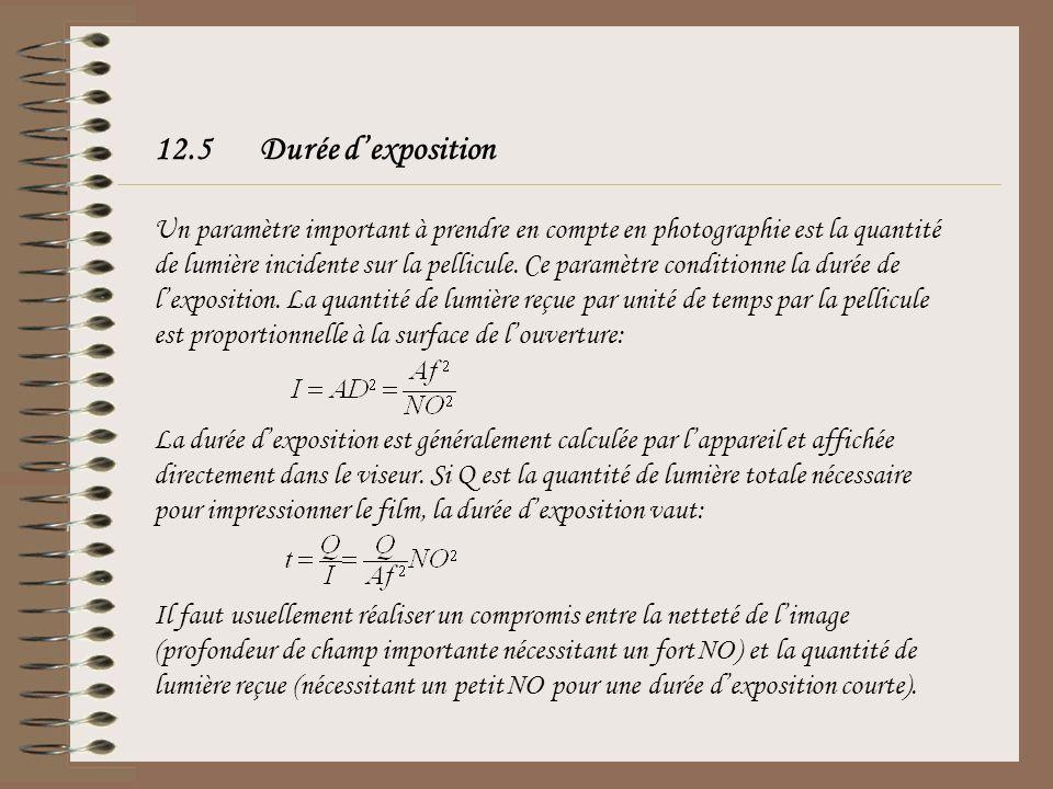 12.5Durée dexposition Un paramètre important à prendre en compte en photographie est la quantité de lumière incidente sur la pellicule. Ce paramètre c