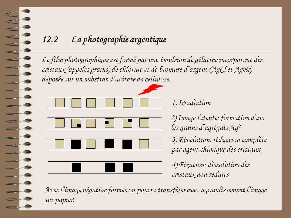 12.2La photographie argentique Le film photographique est formé par une émulsion de gélatine incorporant des cristaux (appelés grains) de chlorure et