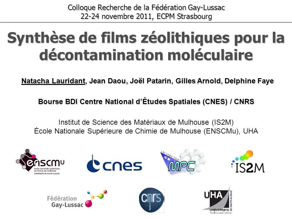 Synthèse de films zéolithiques pour la décontamination moléculaire Colloque Recherche de la Fédération Gay-Lussac 22-24 novembre 2011, ECPM Strasbourg