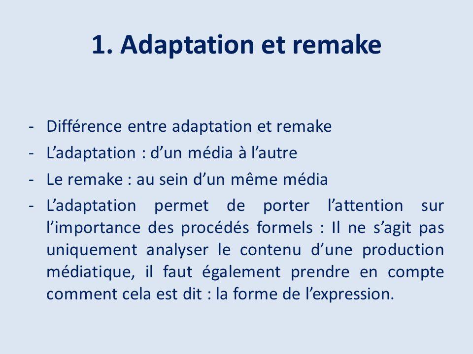 1. Adaptation et remake -Différence entre adaptation et remake -Ladaptation : dun média à lautre -Le remake : au sein dun même média -Ladaptation perm