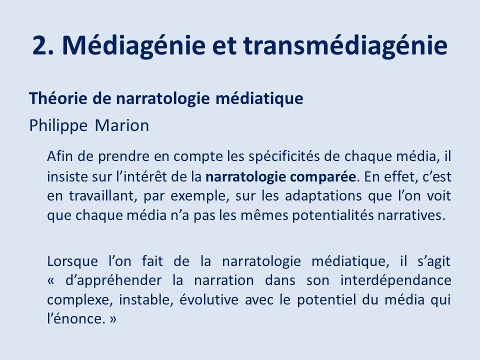 2. Médiagénie et transmédiagénie Théorie de narratologie médiatique Philippe Marion Afin de prendre en compte les spécificités de chaque média, il ins