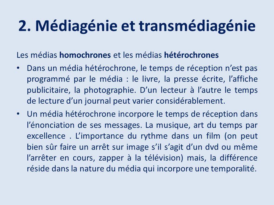 2. Médiagénie et transmédiagénie Les médias homochrones et les médias hétérochrones Dans un média hétérochrone, le temps de réception nest pas program