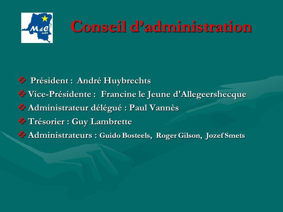 Conseil dadministration Conseil dadministration Président : André Huybrechts Président : André Huybrechts Vice-Présidente : Francine le Jeune d'Allege
